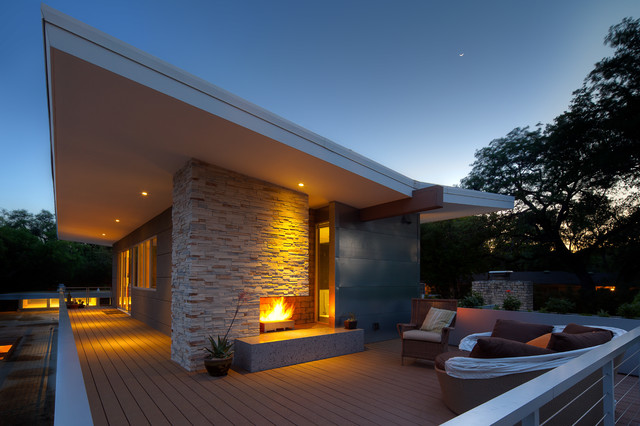 Concrete House Modern Exterior Austin By Mark Lind Sun - Modern exterior house design with stone