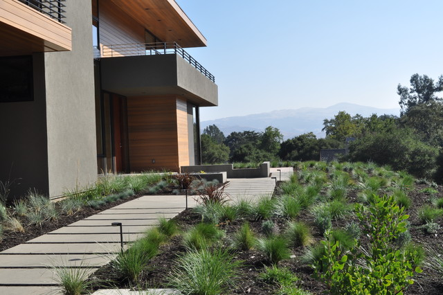 concrete stepping pads, Ipe' deck, water feature, grasses contemporary-exterior