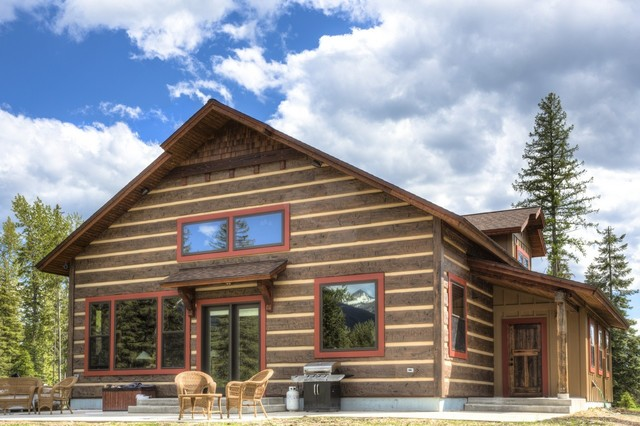 Condon montana cabin rustic exterior other metro for Concrete log cabin