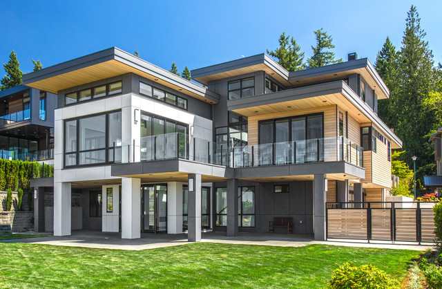 Contemporary Custom Home Contemporary House Exterior Seattle By Lochwood Lozier Custom Homes Houzz Ie