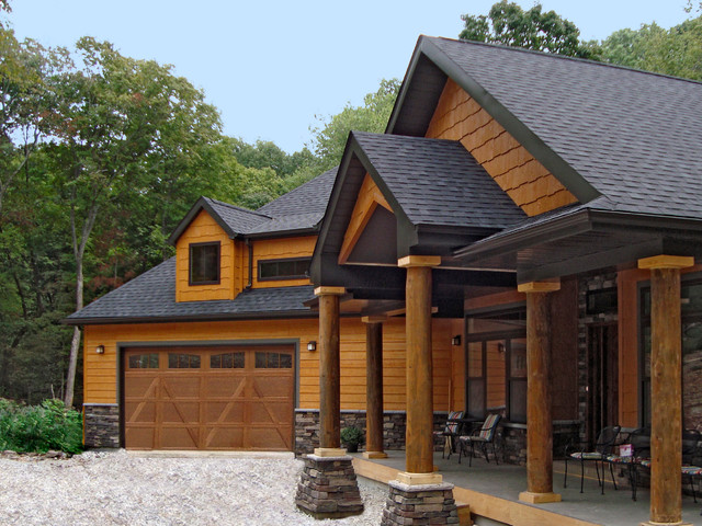This house features lp smartside siding and shakes in for Exterior features of a house