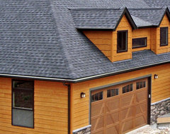 This house features LP SmartSide siding and shakes in Diamond Kote Maple contemporary-exterior