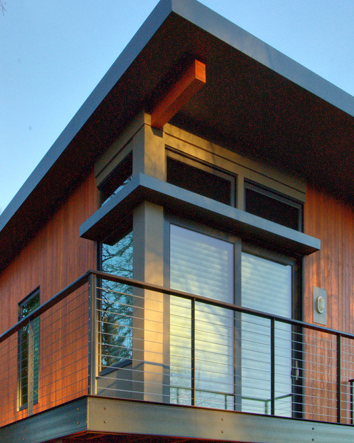 Two story sustainable prefab modern wood warm modular cool cedar clean minimal contemporary - Modern home exterior wood ...