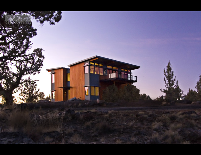 two story prefab modern wood warm modular sustainable contemporary-exterior