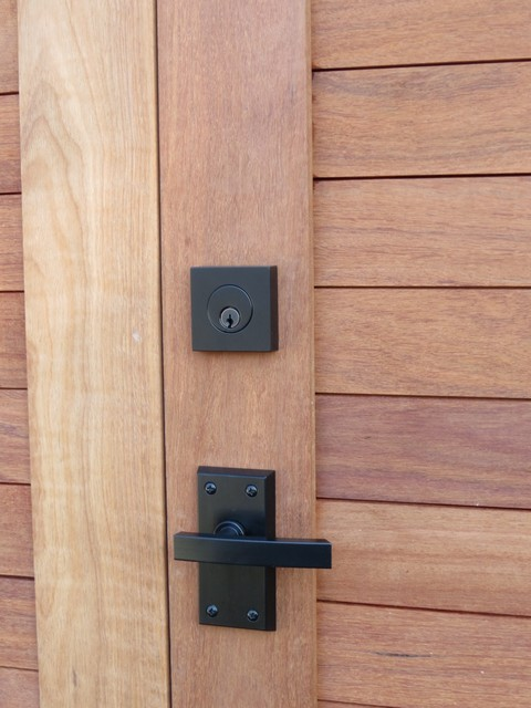 Contemporary Lever Gate Latch with Deadbolt on Wood Gate ...