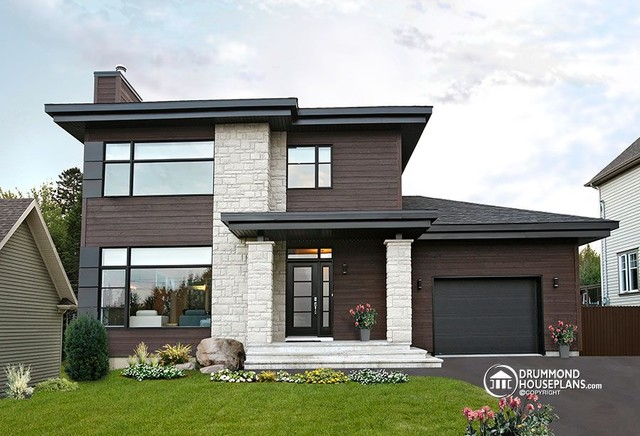 Contemporary modern house plan no 3713 v1 by drummond for Hausplan modern