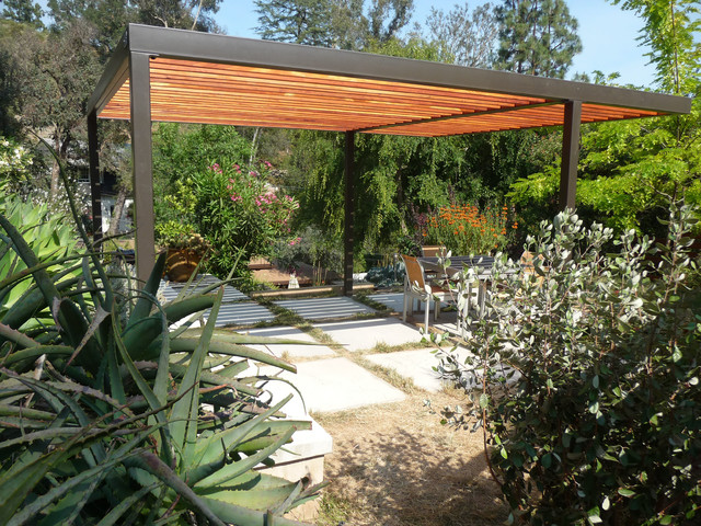 contemporary steel and wood pergola contemporary exterior los angeles by tko structures. Black Bedroom Furniture Sets. Home Design Ideas