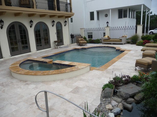 Contrasting Pool Coppings mediterranean exterior