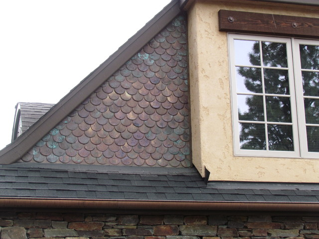 Copper shingles - new with patina, aged 7 years eclectic-exterior