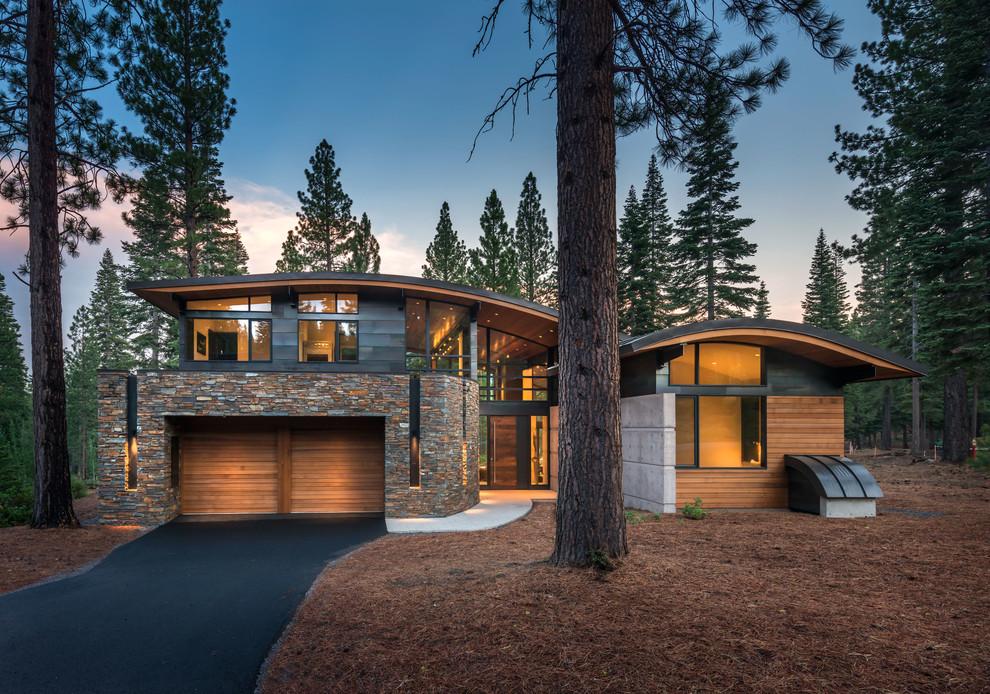 Contemporary two-story mixed siding exterior home idea in Sacramento