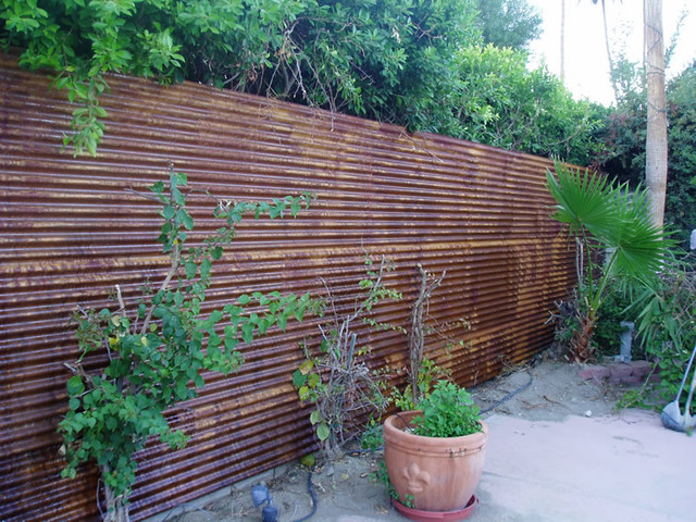 Corten Corrugated Fence Rustic Exterior Phoenix By