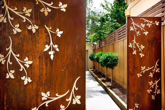 Corten Laser Cut Screens Exterior Melbourne By Pierre Le