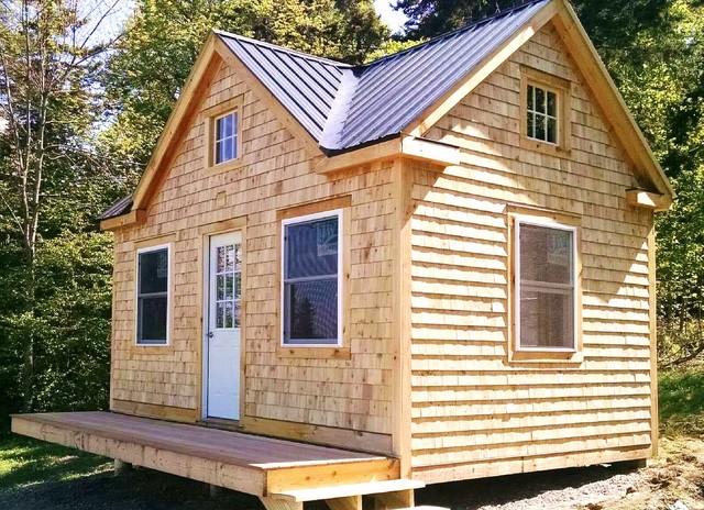 Cabin bathroom lighting - Cottage Living Cross Gable With Shake Shingle Cedar Siding