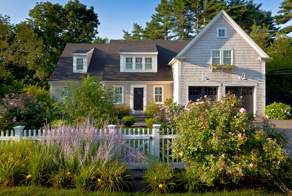 Mid-sized traditional two-story exterior home idea in Boston