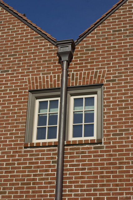 Country House - Detail at meeting gables traditional-exterior