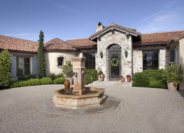 Courtyard With Fountain Mediterranean Exterior Santa