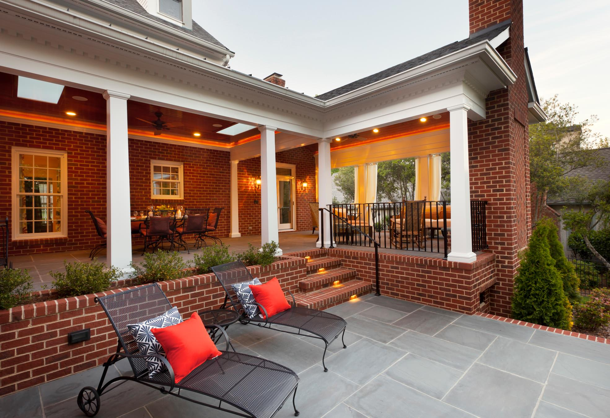 Covered Porch With Fireplace Houzz