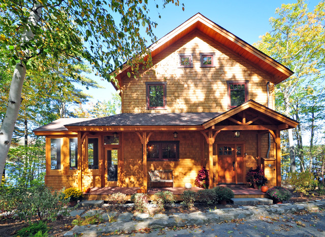 Cozy Timberframe Lake House traditional-exterior