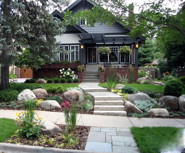 Craftsman bungalow traditional exterior minneapolis for Craftsman landscape design ideas