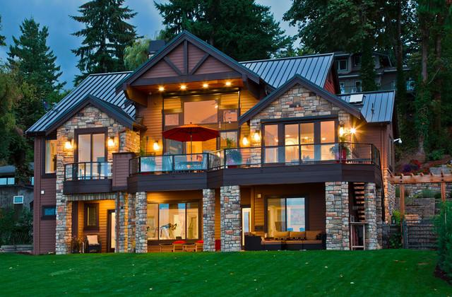 Kirkland custom home exterior craftsman exterior for Custom home builders seattle