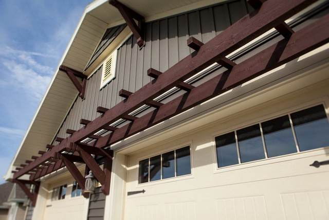 Craftsman garage with pergola and corbels arts crafts for Arts and crafts garage