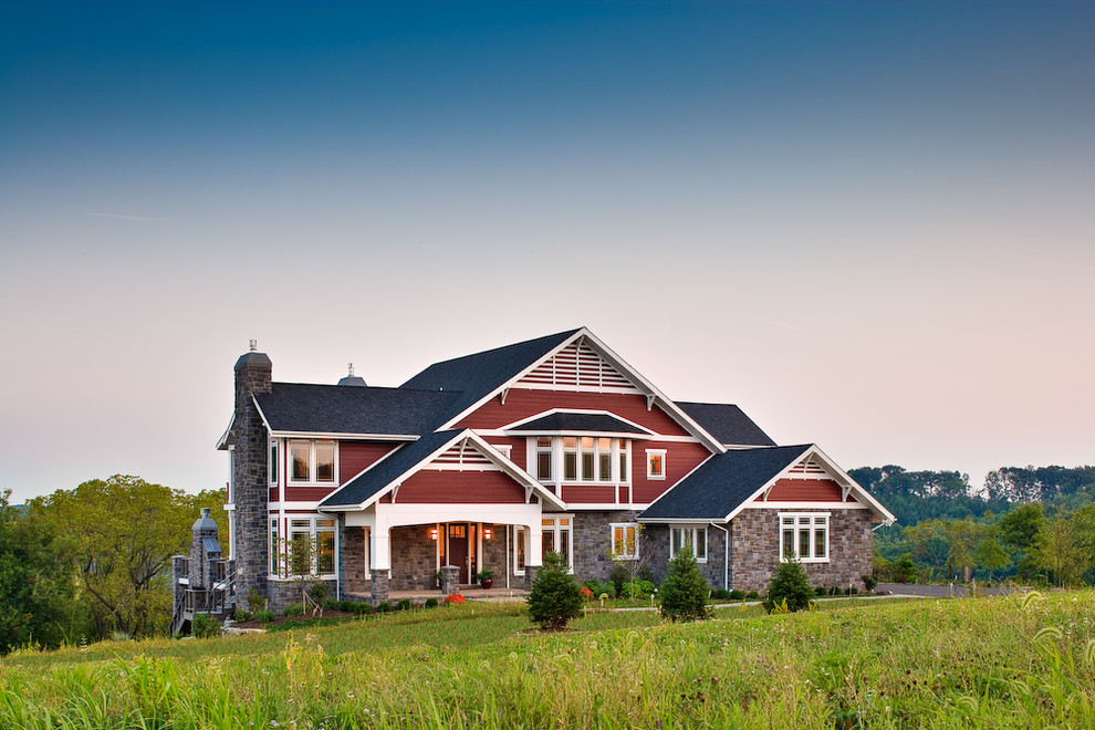 Inspiration for a country red exterior home remodel in Philadelphia