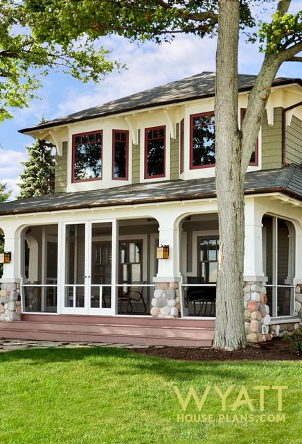 Craftsman House Design - Green Exterior - Craftsman ...