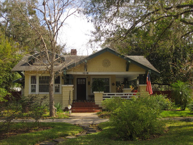 Craftsman Style Arts And Crafts Bungalow Yellow House 1920s Traditional Exterior