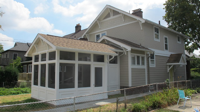 craftsman style screened porch and garage craftsman