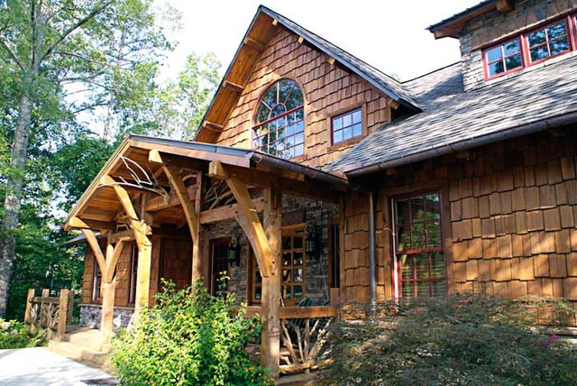 Craftsman timber frame home traditional exterior Timber framed house plans