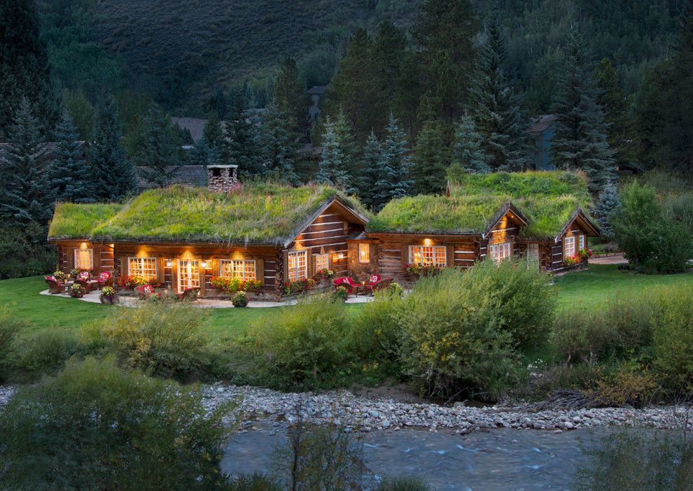 Rustic one-story wood exterior home idea in Denver