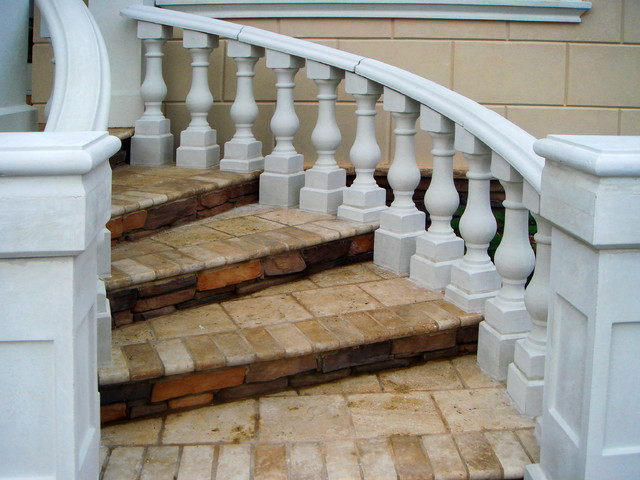Curved Concrete Balustrade Handrails For Stairs Craftsman Exterior New York By Coral