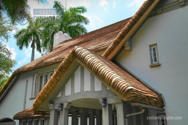 Curved Roof Edges Tropical Exterior Miami By