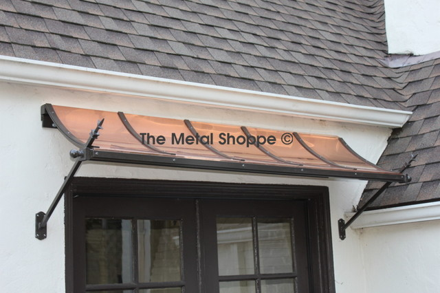 Custom Arched Copper And Iron Window Door Awning Exterior Los Angeles