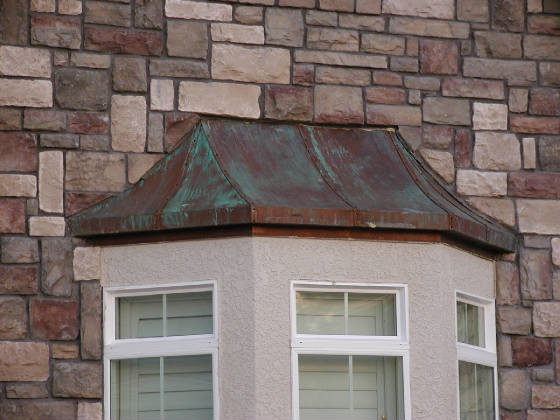 Custom Copper Bay Window Cover Exterior Los Angeles