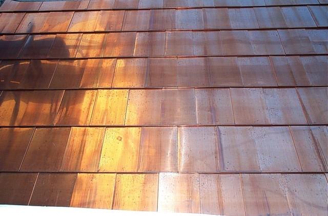 Custom Copper Roof Tile Detail Modern Exterior