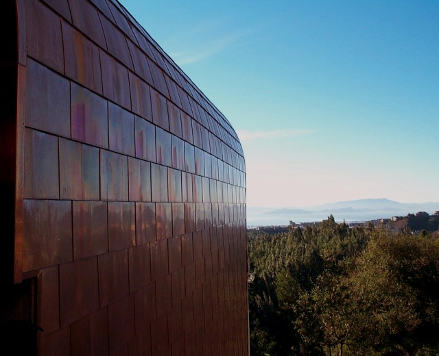 custom copper roof tiles, curved roof modern-exterior
