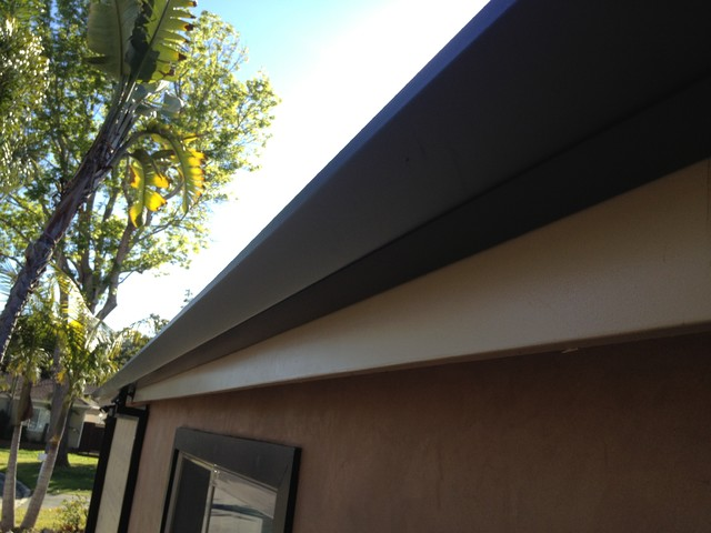 Custom cut Downspouts with contemporary Rain Gutters in Costa Mesa contemporary-exterior