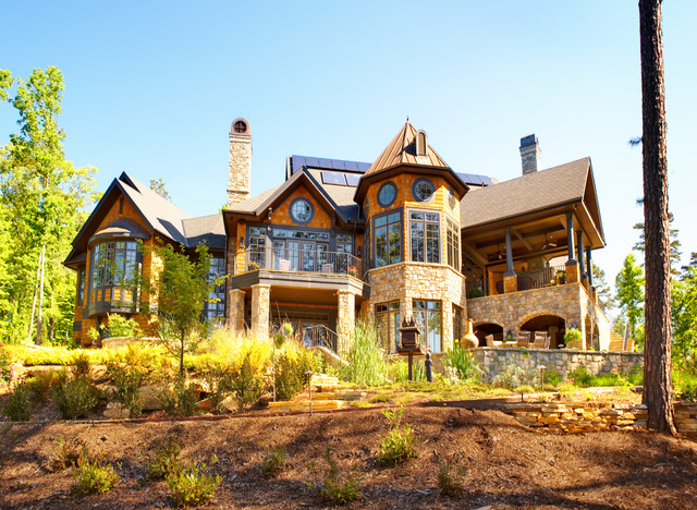 Custom home builder rustic exterior by fairview for Fairview custom homes