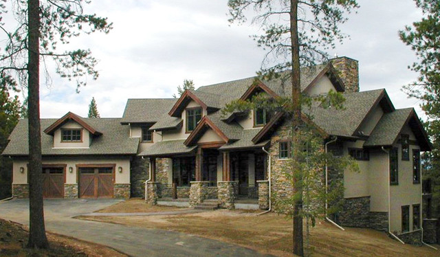 Custom home in evergreen colorado craftsman exterior for Colorado style house plans
