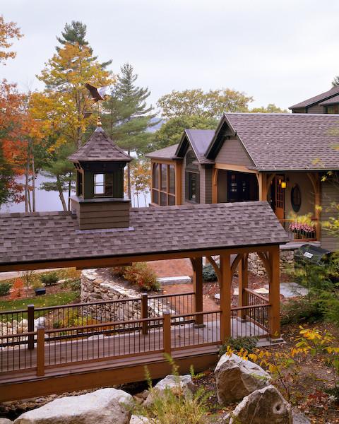Custom home southern maine adirondack style lake house for Adirondack lake house plans