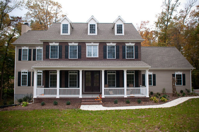 Custom home two story colonial traditional exterior Colonial home builders