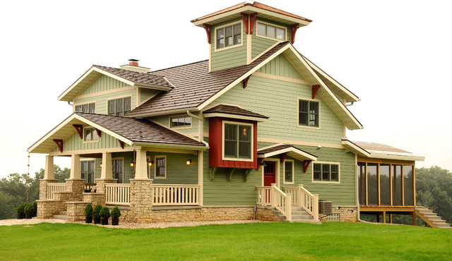 Custom home with lookout tower craftsman exterior for Lookout tower house plans