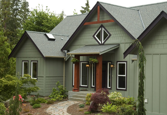 Custom homes rustic exterior seattle by estes builders - Exterior paint colours for wood pict ...