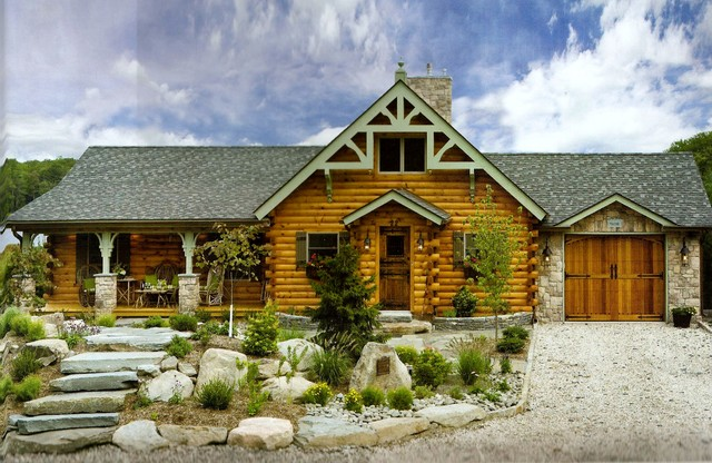 Custom log cabin traditional exterior new york by for Log home pictures exterior