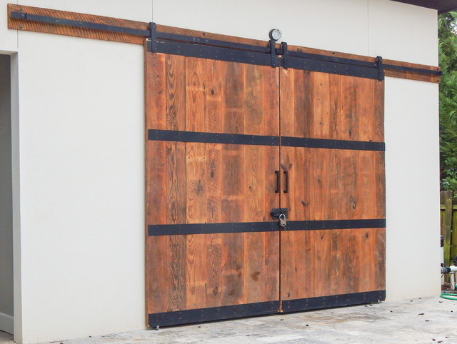 Custom Pool House Barn Doors Industrial Exterior Atlanta By The Rusted Nail