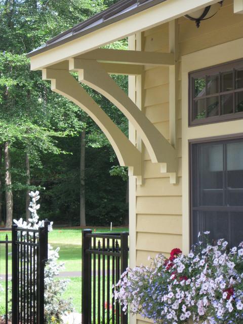 Custom pool house bracket detail traditional exterior for Exterior house brackets