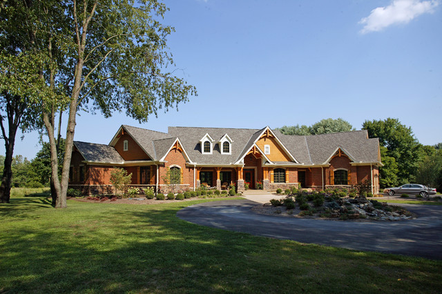 Custom ranch rustic exterior cincinnati by robert Custom built ranch homes