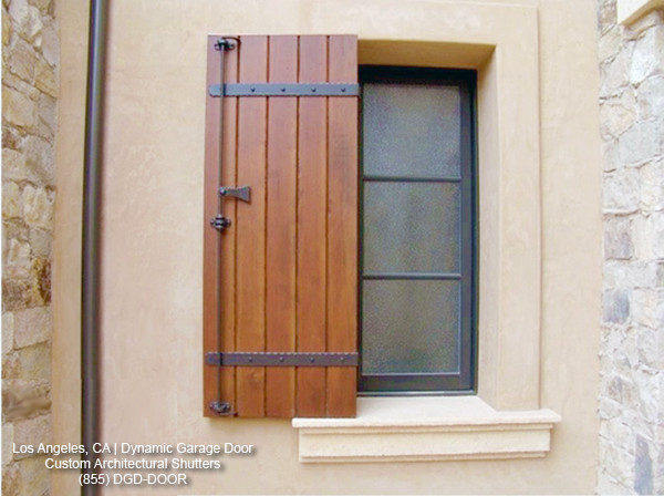 Custom wood shutters in a tuscan style design for Wood doors and shutters