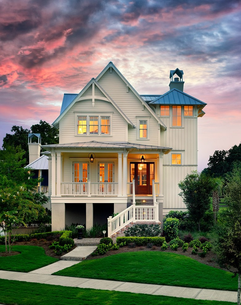 Inspiration for a victorian white two-story exterior home remodel in Charleston